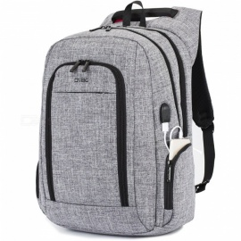 "DTBG 17.3"" Laptop Backpack Durable Travel Business Backpack with USB Charging Port Anti-theft Pocket for Men / Women - Grey"