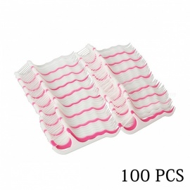100 PCS Flexible Flat Interdental Dental Floss Picks - White + Pink