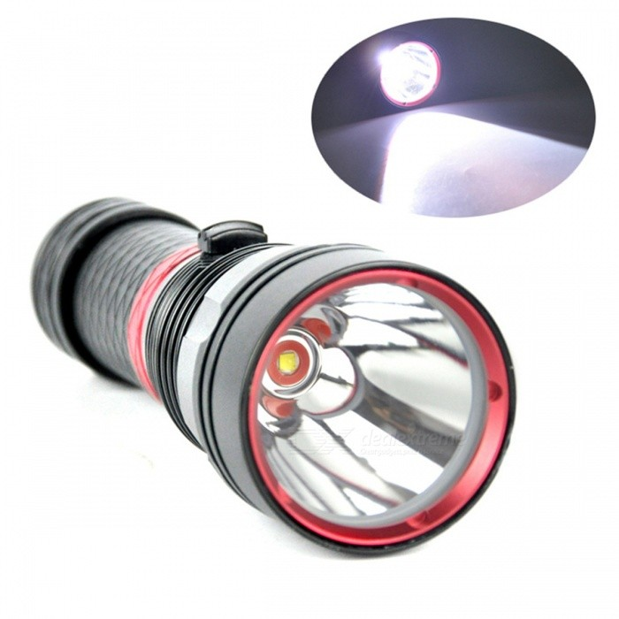 ZHAOYAO Portable 2000LM XM-L2 LED 100 Meters Waterproof Diving Torch FlashlightDiving Flashlights<br>Form  ColorBlackQuantity1 setMaterialAluminum alloyEmitter BrandCreeLED TypeXM-LEmitter BINothers,L2Color BINWhiteNumber of Emitters1Theoretical Lumens1000 lumensActual Lumens800 lumensPower Supply18650/26650 batteryWorking Voltage   3.7 VCurrent1980~2180 mARuntime4-5 hoursNumber of Modes3Mode ArrangementHi,Mid,LowMode MemoryNoSwitch TypeOthers,PushSwitch LocationHeadLens MaterialGlassReflectorAluminum SmoothWorking Depth Underwater100 mStrap/ClipStrap includedPacking List1 x Diving flashlight1 x Battery tube1 x Hand Strap<br>