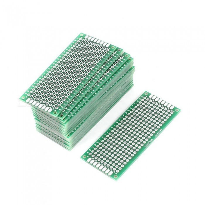 3cm x 7cm FR-4 2-Sided Prototype Tinned Universal PCB Circuit Board for DIY - Green (20 PCS)Boards &amp; Shields<br>Form  ColorGreen + SilverModelPCB3X7Quantity20 piecesMaterialFR-4, TinChipsetNOEnglish Manual / SpecNoDownload Link   NOOther FeaturesHole Dia(Approx): 1mm / 0. 039; Hole Pitch(Approx): 2. 54mm / 0. 1CertificationROHSPacking List20 x Universal PCB Boards<br>