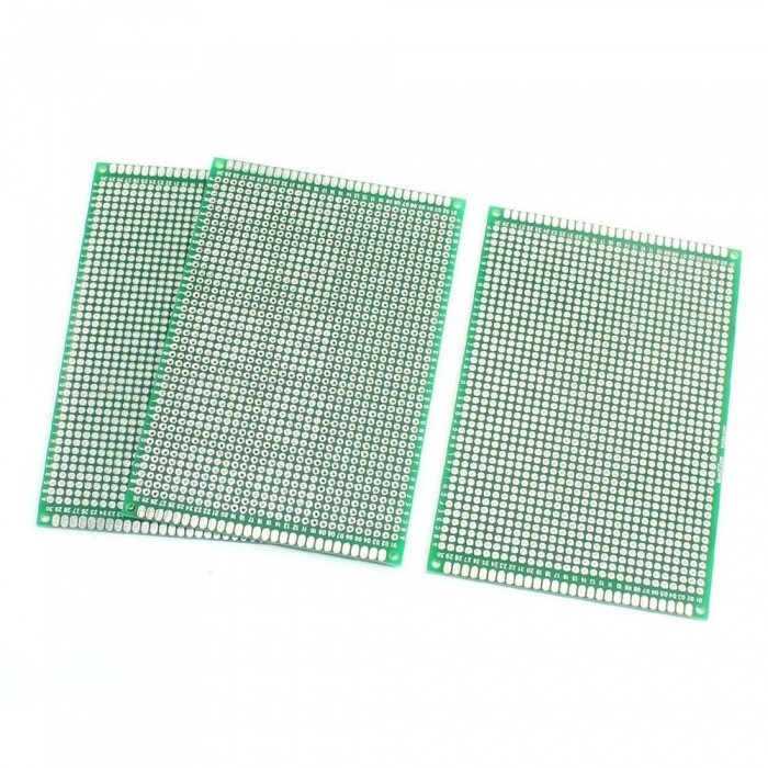 8 x 12cm FR-4 2-Sided Prototype Tinned Universal PCB Circuit Board for DIY - Green (3 PCS)DIY Parts &amp; Components<br>Form  ColorGreen + SilverModelPCB8X12CMQuantity3 piecesMaterialPCB,TinChipsetNOEnglish Manual / SpecNoDownload Link   NOOther FeaturesHole Dia.(Each) : 1mm;<br>Hole Pitch : 2.54mmCertificationROHSPacking List3 x Double-Sided PCB Boards<br>