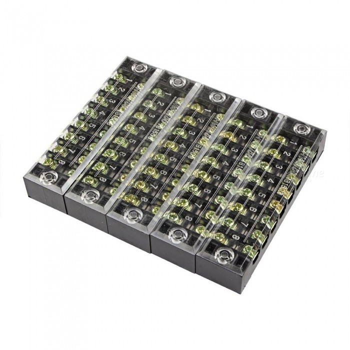 TB1508 Dual Row 8-Position Screw Terminal Electric Barrier Strip Block (5 PCS)DIY Parts &amp; Components<br>Form  ColorBlack + Translucent + Multi-ColoredQuantity5 piecesMaterialMetal plasticChipsetNOEnglish Manual / SpecNoDownload Link   NOOther Features600V 15ACertificationROHSPacking List5 x Barrier Terminal Strips<br>