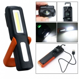 P-TOP Portable USB Rechargeable Energy Saving Magnetic LED Flashlight Stand, Work Light, Camping Lamp Torch - Black + Orange