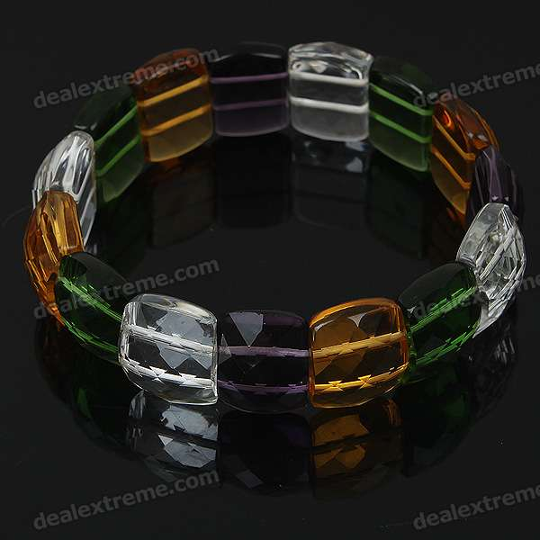 Stylish Elastic String Crystal Bracelet - Multi Color stylish elastic string crystal bracelet of the east china sea transparent white