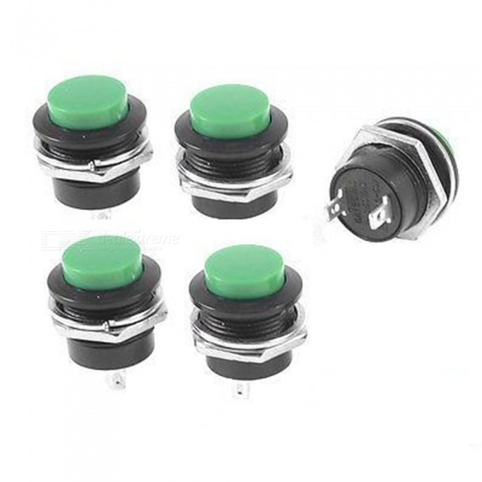 ZHAOYAO AC 250V 3A OFF (ON) Momentary Push Button Switches - Black, Green (5 PCS)Switches &amp; Adapters<br>Form  ColorBlack + GreenQuantity1 setMaterialPlastic, Electric PartsPower Range250VMax. Current3AWorking Temperature43 ?Packing List 5 x Push Button Switches<br>