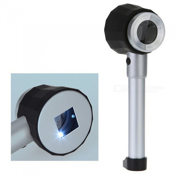 OJADE 10X Handheld Optical Glass LED Magnifier, Magnifying Glass with Light, Jewelry Loupe with Storage CaseMagnifiers<br>Form  ColorSilverQuantity1 setMaterialABSMagnification10XLens Size25MMPacking List1 x Magnifier<br>