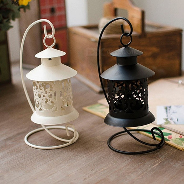 European Style Iron Hollow Candlestick, Romantic Home Ornament, Decorative Birthday Gift (2 PCS)Other Gifts<br>Form  ColorWhite + BlackMaterialIronQuantity1 setPacking List1 x Black Candlestick1 x White Candlestick<br>