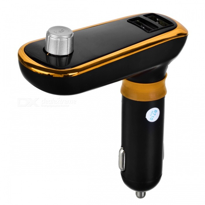 BT66B MP3 Player Bluetooth Hands Free Car FM Transmitter Kit Car Charger with Dual USB Ports - Black + GoldenBluetooth Car Kits<br>Form  ColorGolden + BlackModelBT66BQuantity1 pieceMaterialABSFunctionOthers,Handsfree, MP3 Player, FM Transmitter, Power Off Memory Function, A2DPCompatible CellphoneOthers,IPHONE, Motorola, Blackberry, LG, Sumsang, Nokia, SonyEricsson, HTCVoice Prompt LanguageOtherBluetooth VersionBluetooth V3.0Transmit Distance10 mMIC Effective Distance2 mFM Frequency Range87.5-108.0MHzFM Transmit Distance2 mFrequency Response20Hz-15KhzSNR&gt;60dBTHDCharging Voltage12-24 VInterface/PortOthers,USB 2.0, TF card slotPacking List1 x Car Handsfree FM Transmitter Kit1 x Audio Cable<br>