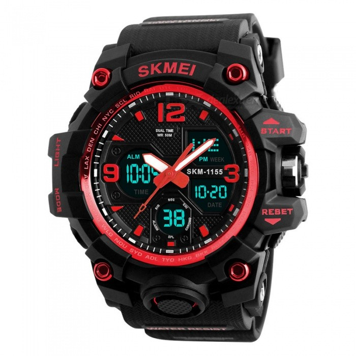 SKMEI 1155B 50M Waterproof Multifunction Sport Watch - RedSport Watches<br>Form  ColorRed - 1155BModel1155BQuantity1 pieceShade Of ColorRedCasing MaterialABS &amp; PUWristband MaterialPUSuitable forAdultsGenderMenStyleWrist WatchTypeSports watchesDisplayDigitalBacklightYESMovementDigitalDisplay Format12/24 hour time formatWater ResistantWater Resistant 5 ATM or 50 m. Suitable for swimming, white water rafting, non-snorkeling water related work, and fishing.Dial Diameter5.5 cmDial Thickness1.7 cmWristband Length26 cmBand Width2.2 cmBatteryCR2025*1, SR626SW*1Packing List1 x Watch<br>