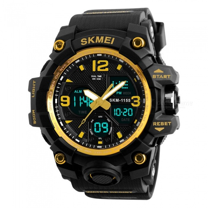 SKMEI 1155B 50M Waterproof Multifunction Sport Watch - GoldSport Watches<br>Form  ColorGold - 1155BModel1155BQuantity1 pieceShade Of ColorGoldCasing MaterialABS &amp; PUWristband MaterialPUSuitable forAdultsGenderMenStyleWrist WatchTypeSports watchesDisplayDigitalBacklightYESMovementDigitalDisplay Format12/24 hour time formatWater ResistantWater Resistant 5 ATM or 50 m. Suitable for swimming, white water rafting, non-snorkeling water related work, and fishing.Dial Diameter5.5 cmDial Thickness1.7 cmWristband Length26 cmBand Width2.2 cmBatteryCR2025*1, SR626SW*1Packing List1 x Watch<br>