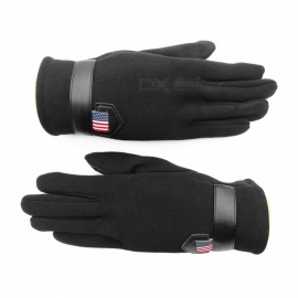 Outdoor Unisex Warm Touch Screen Velvet Full Fingers Gloves - Black