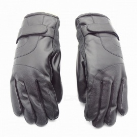 Unisex Winter Outdoor Thickened Waterproof Touch Screen Warm PU Leather Gloves - Black