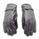 Buy Unisex Winter Outdoor Thickened Waterproof Touch Screen Warm PU Leather Gloves - Black