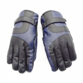 Unisex Winter Outdoor Thickened Waterproof Touch Screen Warm PU Leather Gloves - Black + Blue