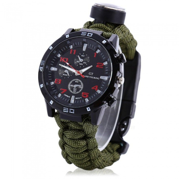 EDC Tactical Outdoor Multifunction Watch with Survival Rescue Paracord Rope Bracelet, Compass Tools Kit for Camping - Dark GreenSport Watches<br>Form  ColorDark GreenQuantity1 pieceShade Of ColorGreenCasing Material-Wristband Material-Suitable forOthers,Fit for everyoneGenderUnisexStyleOthers,-TypeSports watchesDisplayAnalogMovementOthers,-Display Format12 hour formatWater ResistantOthers,-Dial Diameter2 cmDial Thickness2 cmWristband Length22 cmBand Width- cmBattery-Packing List1 x Outdoor Survival Watch<br>