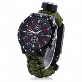 EDC Tactical Outdoor Multifunction Watch with Survival Rescue Paracord Rope Bracelet, Compass Tools Kit for Camping - Dark Green