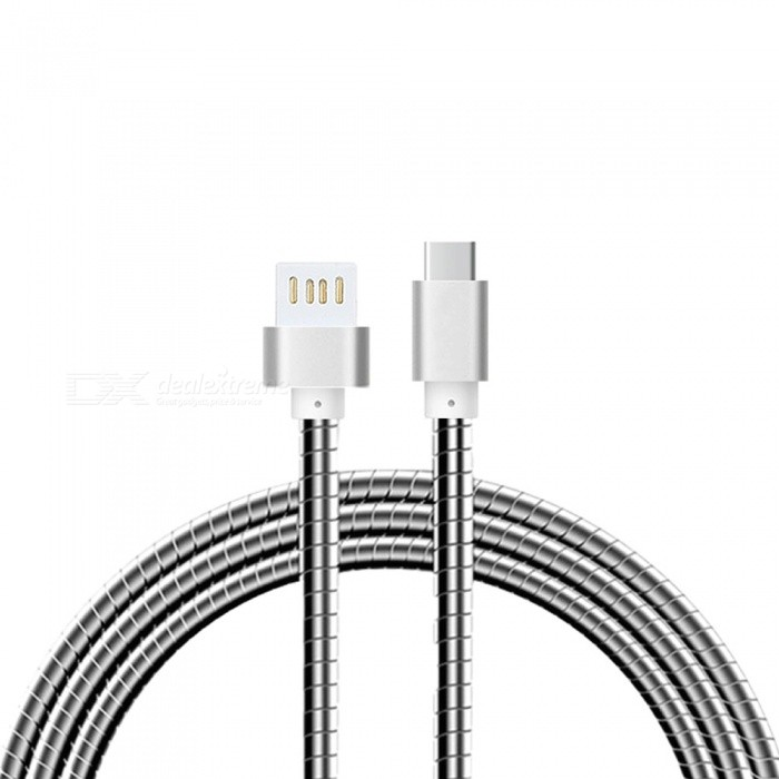Cwxuan Stainless Steel Spring USB 3.1 Type-C Charging Data Cable for Samsung, Huawei, LG, Oneplus - SilverCables<br>Form  ColorSilverMaterialStainless steelQuantity1 setCompatible ModelsSamsung / Huawei / LG etc.Cable Length100 cmConnectorUSB 2.0 / USB 3.1 Type-cPacking List1 x Cable<br>