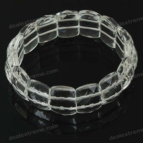 Stylish Elastic String Crystal Bracelet of The East China Sea - Transparent White stylish elastic string crystal bracelet of the east china sea transparent white