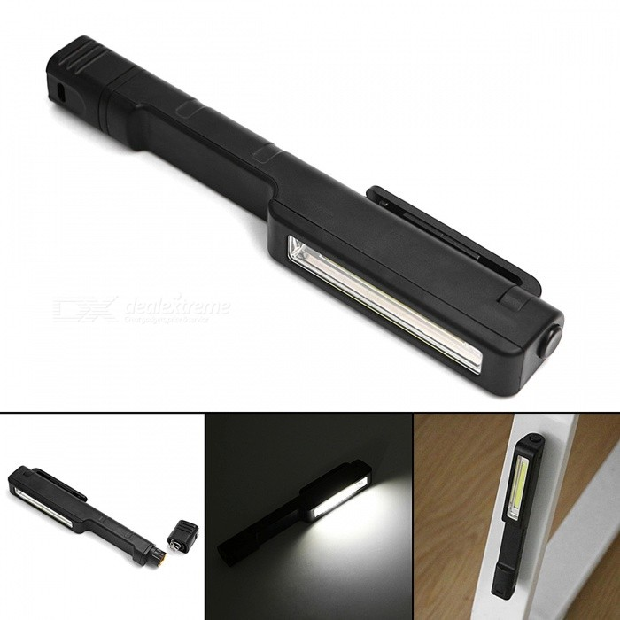 Mini Multifunction COB LED Flashlight Handle Torch Magnetic Work Light Pocket Penlight - BlackAAA Flashlights<br>Form  ColorBlackQuantity1 setMaterialABSOther FeaturesOthers,HandyColor BINNeutral WhiteNumber of EmittersOthers,COBWorking Voltage   3-4.2 VPower Supply3 * AAA Batteries (Not Included)Current- AActual Lumens160 lumensRuntime- hourNumber of Modes1Mode ArrangementOthers,(ON/OFF)Mode MemoryNoSwitch TypeForward clickySwitch LocationHeadLensPlasticReflectorAluminum SmoothBeam Range50-100 mStrap/ClipNoPacking List1 x LED Flashlight<br>