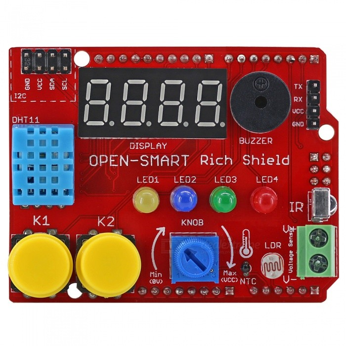 OPEN-SMART Rich Shield with Infrared Receiver LED Buzzer Button DHT11 Light Sensor Temperature Sensor Module for ArduinoBoards &amp; Shields<br>Form  ColorRed + MulticoloredModelN/AQuantity1 pieceMaterialPCB + Alloy + PlasticEnglish Manual / SpecYesDownload Link   http://drive.google.com/drive/folders/1Cavg-KB5NWWjklMB52o2jtzf9hesBf5D?usp=sharingPacking List1 x Rich Shield<br>