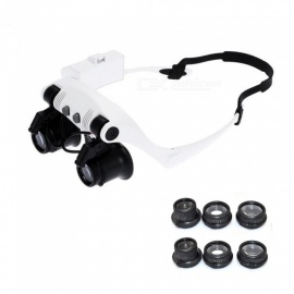 10x 15x 20x 25x Head Wearing Magnifier Magnifying Glass with 2-LED Light, Microscope Loupe Eye Lupa for Jeweler Watch Repair