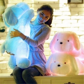 WJ445 Portable Cute 50cm Luminous Dog Plush Doll, Colorful LED Glowing Toy for Children Girls, Kids Birthday Gift Pink