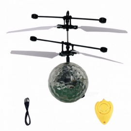 RC RC flying ball juguete drone bola de helicóptero incorporado shinning iluminación LED colorful flying toy para niños adolescentes negro + blanco (con control remoto)