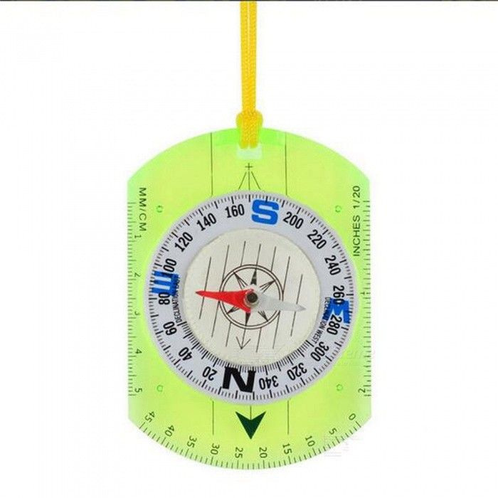 OJADE Outdoor Multifunctional Ruler / Compass with Strap - GreenCompasses<br>Form  ColorTransparent + Green + Multi-ColoredQuantity1 setMaterialABSAnalog or DigitalAnalogRulerYesPacking List1 x Compass<br>