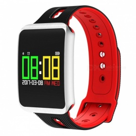 TF1 Smart Bluetooth Bracelet w/ Heart Rate Monitor, Blood Pressure Oxygen Monitor, Sleep Detection, Message Alert - Red