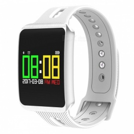 TF1 Smart Bluetooth Bracelet w/ Heart Rate Monitor, Blood Pressure Oxygen Monitor, Sleep Detection, Message Alert - White