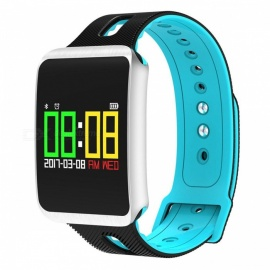 TF1 Smart Bluetooth Bracelet w/ Heart Rate Monitor, Blood Pressure Oxygen Monitor, Sleep Detection, Message Alert - Blue