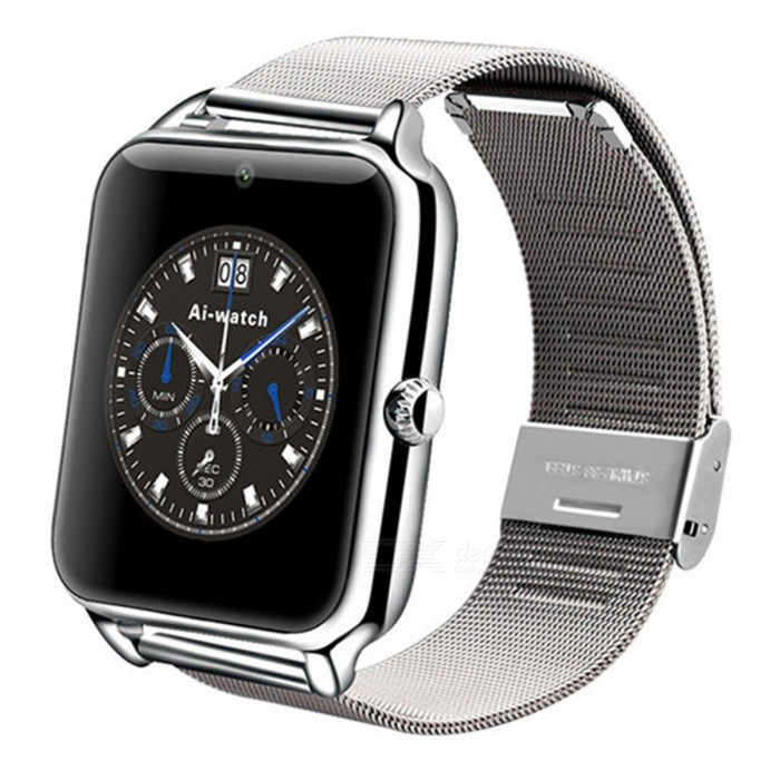 Z60 1.54 Smart Watch with Camera, Stand Sim Card, TF Slot, Facebook, Twitter, Alarm Clock for Android / IOS - SilverSmart Watches<br>Form  ColorSilverModelZ60Quantity1 DX.PCM.Model.AttributeModel.UnitMaterialAlloyShade Of ColorSilverCPU ProcessorMTK6261DScreen Size1.54 DX.PCM.Model.AttributeModel.UnitScreen Resolution240*240Touch Screen TypeOthers,LCDNetwork Type2GBluetooth VersionBluetooth V3.0Operating SystemAndroid 4.3,iOSCompatible OSAndroid IOSLanguageMultilingualWristband Length21 DX.PCM.Model.AttributeModel.UnitWater-proofNoBattery ModeReplacementBattery TypeLi-polymer batteryBattery Capacity350 DX.PCM.Model.AttributeModel.UnitStandby Time2 DX.PCM.Model.AttributeModel.UnitForm  ColorSilverPacking List1 x Smart watch1 x User manual 1 x Box1 x Data line<br>