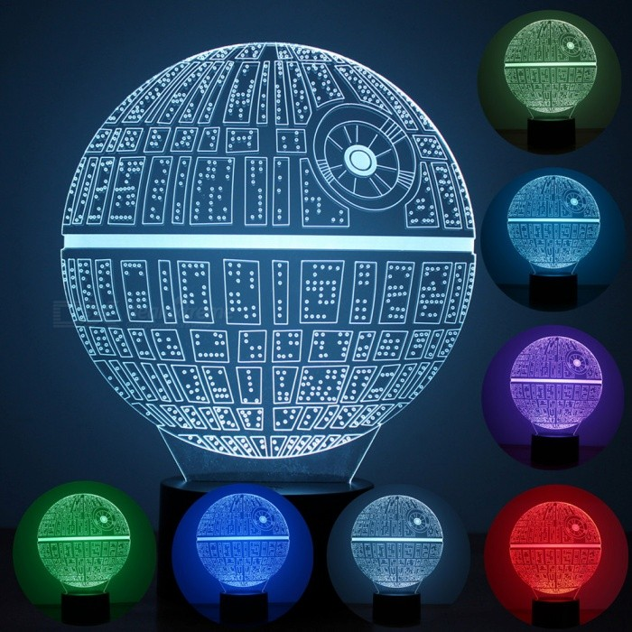Portable Death Star Parttern 7-Color Charging USB 3D Nightlight, LED LampLED Nightlights<br>Form  ColorBlack + TransparentModelBRM-2795MaterialPlasticQuantity1 setPowerOthers,1.5WRated VoltageAC 100-240 VColor BINMulti-colorChip BrandOthers,ling tongChip Typeling tongEmitter TypeLEDTotal Emitters8DimmableYesInstallation TypeInsertedPacking List1 x Parttern board1 x Light base1 x USB cable1 x User manual<br>