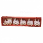 P-TOP Cartoons Wooden Five Small Trains Decorations for Children, Christmas Festive Party Gifts - White