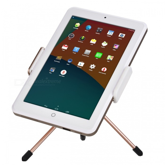 P-TOP 8 Inches Projection Tablet PC Business Entertainment Portable Projector - GoldenProjectors<br>Form  ColorRose Gold + WhiteBrandOthers,P-TOPQuantity1 setMaterialAluminum AlloyShade Of ColorGoldOperating SystemAndroid 4.4,Android 4.4.1,Android 4.4.2,Android 4.1,Android 4.2,Android 4.3TypeDLPChipset0.3single DMD EM chipBrightnessUnder 1000 lumensBrightness60 lumensMenu LanguageEnglish,Chinese Traditional,Others,Supports Multiple LanguagesBuilt-in SpeakersYesLife Span20,000 hourEmitter BINOthers,DLP technologyDisplay SizeProjection size20 ~100 inchDiagonalContrast Ratio1000:1Maximum Resolution1080PThrow Distance20-300cmBuilt-in Memory / RAM32GBAudio FormatsMP3,WMA,APE,FLAC,OGG,AC3,AACVideo FormatsRMVB,AVI,MKV,MOV,MP4,FLV,VOB,DAT,MPEG,WMVPicture FormatsJPEG,BMP,PNG,GIF,TIFFInput ConnectorsDVI,USB,HDMI,WiFiPower ConsumptionUnder 20WPower AdapterUSBPacking List1 x Tablet PC/Projector1 x USB Data Cable1 x Instructions1 x Projection Stand<br>