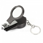 5-in-1 Multi-Function Keychain Nail Clipper with Mirror / Ballpoint Pen / Ear Spoon / File - Black