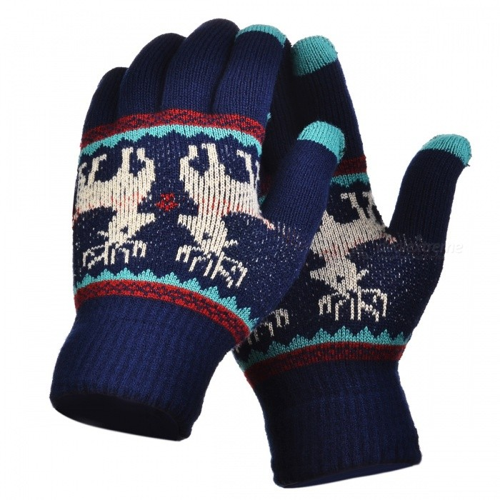 Stylish Knitted Winter Gloves, Riding Cashmere Thickened Warm Full Finger Gloves for Women - Dark BlueGloves<br>Form  ColorDeep Blue + GreenSizeFree SizeQuantity1 setShade Of ColorBlueMaterialCashmereGenderWomenSuitable forOthers,UniversalStyleFashionPalm Girth48 cmMidfinger Length12 cmGlove Length20 cmPacking List1 x Pair of Gloves<br>