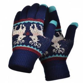 Stylish Knitted Winter Gloves, Riding Cashmere Thickened Warm Full Finger Gloves for Women - Dark Blue