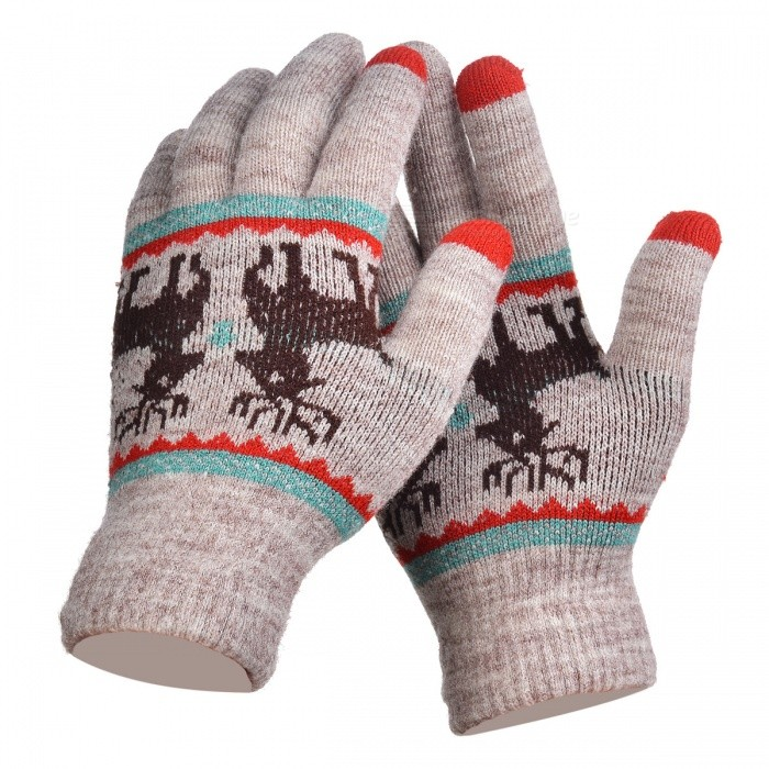 Stylish Knitted Winter Gloves, Riding Cashmere Thickened Warm Full Finger Gloves for Women - KhakiGloves<br>Form  ColorKhaki + Grey + Multi-ColoredSizeFree SizeQuantity1 setShade Of ColorBrownMaterialCashmereGenderWomenSuitable forOthers,UniversalStyleFashionPalm Girth48 cmMidfinger Length12 cmGlove Length20 cmPacking List1 x Pair of Gloves<br>