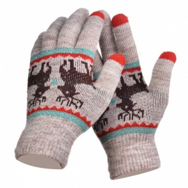 Stylish Knitted Winter Gloves, Riding Cashmere Thickened Warm Full Finger Gloves for Women - Khaki