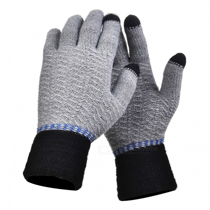 Stylish Knitted Winter Gloves, Riding Cashmere Thickened Warm Full Finger Gloves for Men - Grey, BlackGloves<br>Form  ColorGrey + BlackSizeFree SizeQuantity1 setShade Of ColorGrayMaterialCashmereGenderMenSuitable forAdultsStyleFashionPalm Girth52 cmMidfinger Length14 cmGlove Length23 cmPacking List1 x Pair of Gloves<br>