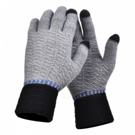Stylish Knitted Winter Gloves, Riding Cashmere Thickened Warm Full Finger Gloves for Men - Grey, Black