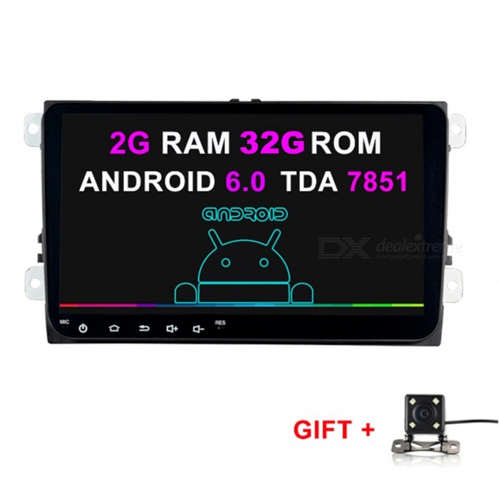 Funrover 9 1024 x 600 Quad-core Android 6.0 Car Player Stereo Navigation w/ 2GB RAM 32GB ROM for VW Skoda SeatCar DVD Players<br>Form  Color2GB RAM 32GB ROM + Rearview CameraModelFV0018-8Quantity1 pieceMaterialABS+MetalStyle2 Din In-DashFunctionOthers,Wi-Fi RDSCompatible MakeOthers,vw skoda seatCompatible Car ModelVolkswagen Passat B6 / B7 / Passat CC / Jetta / Polo / Golf / Caddy /Tiguan / Touran / Skoda Octavia / Superb / Yeti / Fabia / Seat Leon / Seat Altea / Toledo / SciroccoCompatible YearOthers,2014 2015 2016 2017Screen SizeOthers,9 InchScreen Resolution1024*600Touch Screen TypeYesDetachable PanelNoBrightness ControlYesMenu LanguageOthers,multi-languageCPU ProcessorIntel SoFIA 3GR Quad CoresSupport MapIGO,Route66,TOMTOM,Garmin,Sygic,CarelandMain FrequencyOthers,1.6 GHzStore CapacityOthers,16 GBOperating SystemOthers,Android 6.0Audio FormatsMP3,WMA,APE,FLAC,OGG,AC3,DTS,AACVideo FormatsOthers,videoPicture FormatsJPEG,BMP,PNG,GIF,TIFF,jps(3D),mpo(3D)Support RDSfor European countriesRadio TunerAM,FMRadio Response BandwidthAM: 520KHz-1700KHz,FM: 87MHz-110MHzStation Preset Qty.40RDSYesBuilt-in MicrophoneYesBluetooth FunctionReceived Call,Dialled Call,Missed CallBluetooth VersionBluetooth V3.0Amplifier Peak Power4*45 WAudio ModeNatural,Rock,Jazz,Classical,Live,Dancing,PopularInterface PortUSB ISOAudio Input2 channelsAudio  Output1 ChannelRearview Camera InputYesExternal Memory Max. Support64 GBVideo Input2 channelsVideo Output1 channelWorking Voltage   12 VWorking Temperature-20~+70 ?Storage Temperature-30~+80Other FeaturesWi-fi mirror link, 2G RAM 32G ROMCertificationCEPacking List1 x Car radio 1 x Volkswagen special power cable (23cm) 1 x Canbus decoding box (6cm)1 x GPS Antenna (300cm)1 x External Bluetooth MIC (300cm) 1 x External USB cable (100cm) 1 x Radio Cable (20cm)1 x Backup Camera RCA Cable (20cm)1 x RCA Cable (20cm)1 x Backup Camera (600cm)<br>
