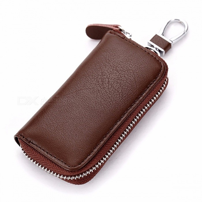CHIZIYO Genuine Leather Car Key Holder Wallet, Housekeeper Keys Organizer, Zipper Key Case Bag, Keychain Cover Men, Women Brown