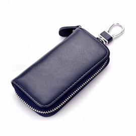 CHIZIYO Genuine Leather Car Key Holder Wallet, Housekeeper Keys Organizer, Zipper Key Case Bag, Keychain Cover for Men, Women Navy