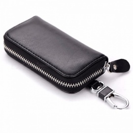 CHIZIYO Genuine Leather Car Key Holder Wallet, Housekeeper Keys Organizer, Zipper Key Case Bag, Keychain Cover for Men, Women Black