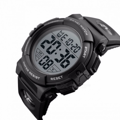 SKMEI 1258 Premium 50m Waterproof Men's Sports Watch, Outdoor Multifunctional Fashion Digital Wristwatch - Black