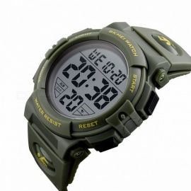 SKMEI 1258 Premium 50m Waterproof Men's Sports Watch, Outdoor Multifunctional Fashion Digital Wristwatch - Army Green