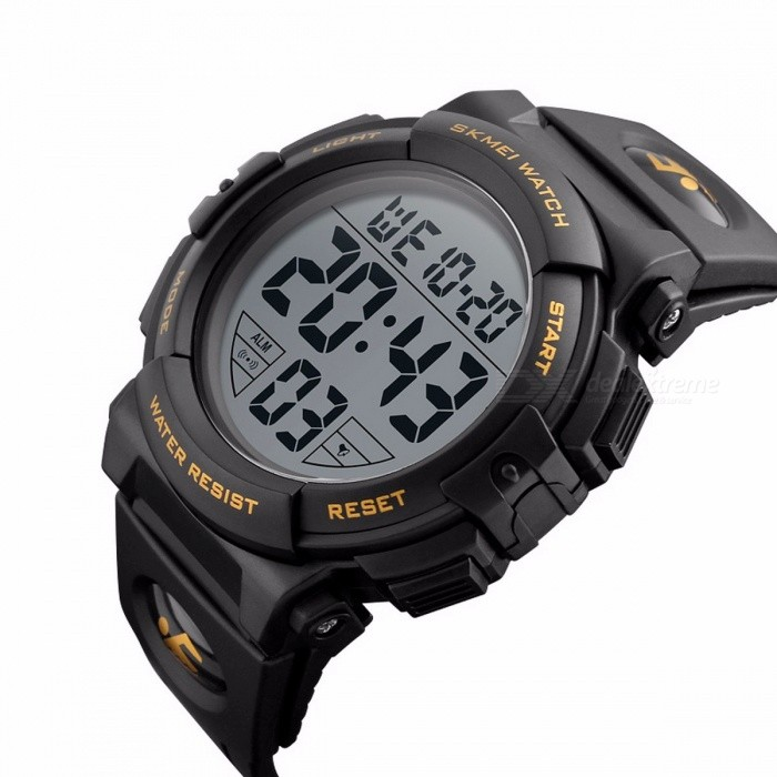 SKMEI 1258 Premium 50m Waterproof Mens Sports Watch, Outdoor Multifunctional Fashion Digital Wristwatch - GoldSport Watches<br>Form  ColorGoldenModel1258Quantity1 pieceShade Of ColorGoldCasing MaterialPCWristband MaterialPUSuitable forAdultsGenderMenStyleWrist WatchTypeCasual watchesDisplayDigitalBacklightEL LightMovementDigitalDisplay Format12/24 hour time formatWater ResistantWater Resistant 5 ATM or 50 m. Suitable for swimming, white water rafting, non-snorkeling water related work, and fishing.Dial Diameter5.7 cmDial Thickness1.7 cmWristband Length25.5 cmBand Width1.7 cmBattery1 x CR2032Packing List1 x Watch<br>