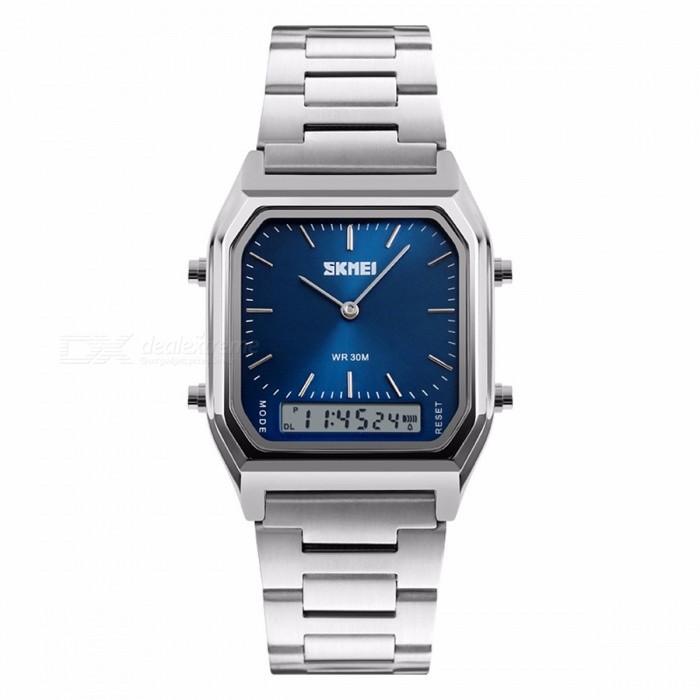 SKMEI 1220 Waterproof Mens Fashion Casual Quartz Wristwatch, Chronograph Digital Dual Time Sports Watch - BlueSport Watches<br>Form  ColorBlueModel1220Quantity1 pieceShade Of ColorBlueCasing MaterialAollyWristband MaterialStainless SteelSuitable forAdultsGenderMenStyleWrist WatchTypeFashion watchesDisplayAnalog + DigitalBacklightEL LightMovementQuartzDisplay Format12/24 hour time formatWater ResistantWater Resistant 3 ATM or 30 m. Suitable for everyday use. Splash/rain resistant. Not suitable for showering, bathing, swimming, snorkelling, water related work and fishing.Dial Diameter4.3 cmDial Thickness1.1 cmWristband Length25 cmBand Width2.0 cmBattery1 x CR2016Packing List1 x Watch<br>